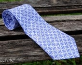 Mens Necktie - Purple and White Circular Geometric Pattern Cotton Tie - becauseimme