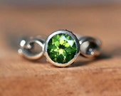 Sterling silver peridot ring - August birthstone - infinity ring - bezel engagement ring - artisan ring - Wrought ring, custom made to order