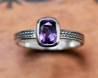 Amethyst gemstone ring, February birthstone ring, amethyst stacking ring, bezel set ring, wheat braided ring, oxidized silver, size 7