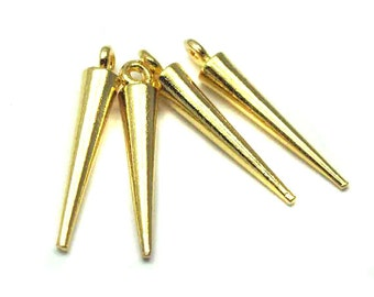 Gold Plated Spike Charms (4X) (M506-C)