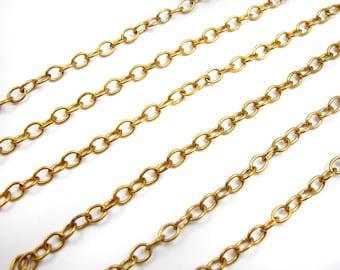 Vintage Orange Brass Brass Cable Chain (8 Feet) (C667-B)