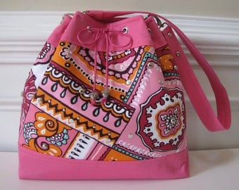 Large Pink Handbag, Shoulderbag with Drawstring Tie Closure