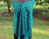 Lace Scarf teal long wrap shawl stole