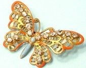 Vintage/ estate Art Deco 1940s gilt metal filigree, orange and paste butterfly/ insect costume brooch