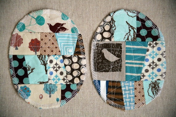 Patchwork Knee Patches - set of 2 blue brown