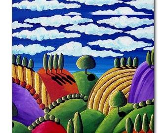 Tuscan Landscape Whimsical Colorful Folk Art Ceramic Tile