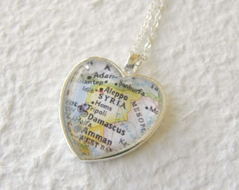 Syria Map Necklace featuring Damascus, Tripoli, Aleppo, and Homs