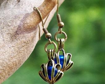 Recycled  Vintage Cobalt Noxzema Jar Brass Earrings