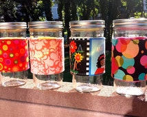 Mason jar cozy / mason jar sleeve - custom fabric choice - 24oz quart pint half-pint wide-mouth regular-mouth