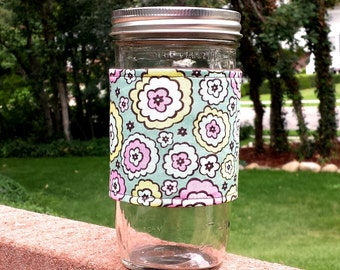 FREE SHIPPING UPGRADE with minimum -  Mason Jar cozy / mason jar sleeve / reusable jar sleeve - Chocolate Lollipop