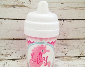 personalized PREPPY girl spill proof sippy cup in pink featuring a seahorse design