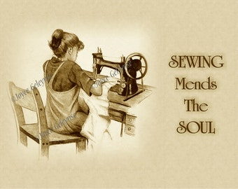 Printable Art, Girl at Singer Machine with Quote about SEWING, Sepia Pencil, Instant Download