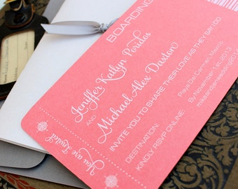 Modern Compass Boarding Pass Wedding Invitation (White Ink and Coral) - Design Fee