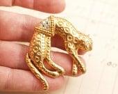 Vintage Golden Jaguar Cat Brooch Pin Articulated - To Benefit Heart Strings