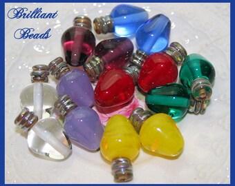 Transparent Christmas Bulb Lampwork Bead Pair - Handmade Lampwork SRA, Made To Order