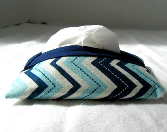 Chevron Tissue Holder Aqua Navy Pocket Size