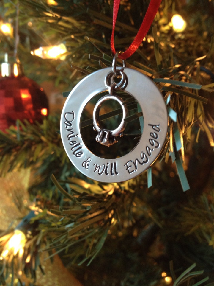 Engagement Ring Engaged Couple Christmas Ornament approx 1