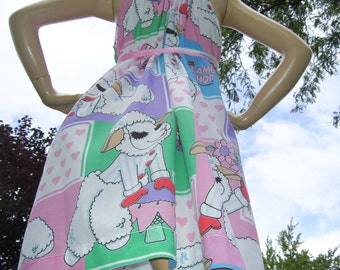 Lamb Chop Sundress Upcycled Vintage Fabric Sundress Comic Con Dress Convertible Adult Pink Blue Green Mom Party Dress M L XL Plus Size