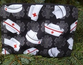 Nurses make up bag, makeup case, accessory bag, zippered pouch, zippered bag, nurse caps on black, The Scooter