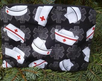 Nurses make up bag, makeup case, accessory bag, zippered pouch, zippered bag, nurse caps on black, The Scooter
