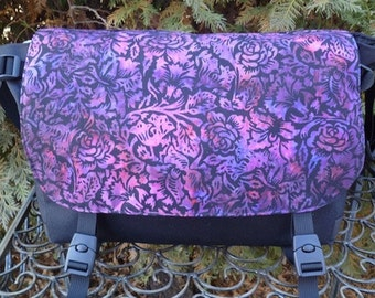 Purple batik Messenger Bag, Diaper Bag, Project Bag, rose garden batik, The Zelda