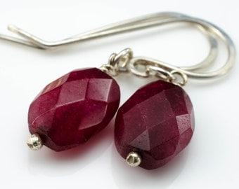 Jayne Earrings Genuine Ruby Gemstone and Sterling Silver July Birthstone