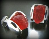 Red Sea Glass Jewelry, For Him, Rare Red Seaglass Cufflinks - Sterling Silver - Wedding, Groom, Holiday Jewelry, Jewellery