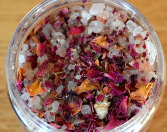 New Stress Free Natural Pink Himalayan Bath Salts Geranium Bergamot Scented Botanical Soak  Milk Bath, 11 Ounces, Essential Oils
