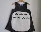My Neighbor Totoro Costume Dress in Cozy Fleece - Sizes Newborn to Girls Size 6 - Halloween Costume Girls Clothing