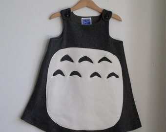 My Neighbor Totoro Costume Dress in Gray Fleece, Girls Halloween Costume, Toddler Costume, Baby Costume, Baby Dress, Toddler Dress, NB to 6
