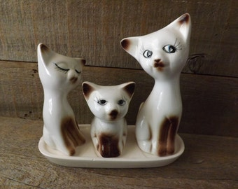 Siamese Salt and Pepper, Salt and Pepper Shakers, Cat Salt and Pepper, Salt Shaker, Pepper Shaker, Toothpick Holder