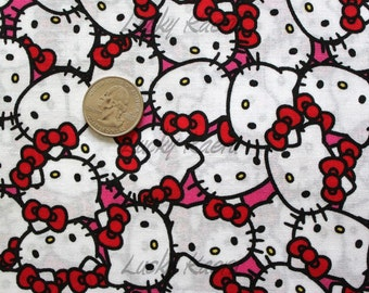 Hello Kitty Packed Pink Fabric - REMNANT Size 26 Inches by 44 Inches