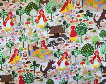Kawaii Anime Little Red Ridinghood Beige Fabric - REMNANT Size 25 Inches by 43 Inches