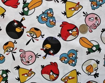 Angry Birds Toss White Cotton Fabric - Half Yard