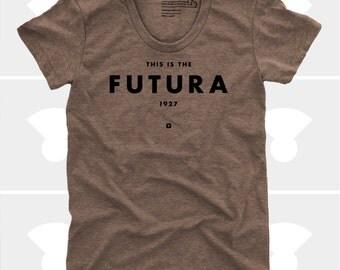 Futura Women's TShirt, Typography Shirt, Tee Womens Top, S,M,L,Xl, Graphic Design, Type, Typography, Brown Shirt (4 Colors) TShirt for Women