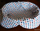 Basket Liner, Bread Cloth, Table Topper, Centerpiece, Patriotic, Red, Navy Blue and Royal Blue Polka Dots on White, Handmade Table Linens