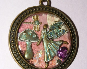 Flittering Fae And Dragonfly Resin Pendant