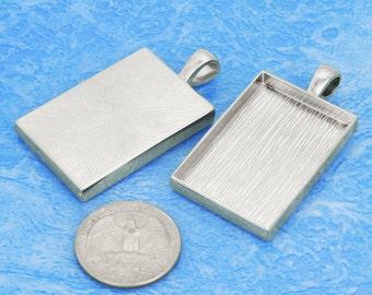 10 pcs 25.5X38mm Great rectangle Silver tone Pewter bezel blank Pendant Tray