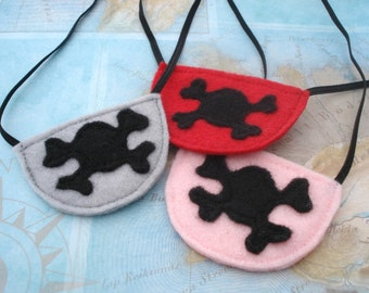 Pirate Eye Patches - Pirate Party - Pirate Costume Accessory- Felt Eye Patches - Pirate Party Favor - Skull and Cross Bone Patch