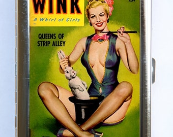 Pin up pinup Wink Cigarette Case Wallet Business Card Holder retro rockabilly