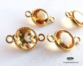 4 pcs 13mm (Stone 8mm) Yellow Citrine Round Connectors Gold Bezel Charms F491