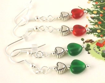 Holiday Hearts two pairs of Christmas earrings one red one green  Makes a great stocking stuffer