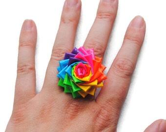 Rainbow Duct Tape Flower Ring