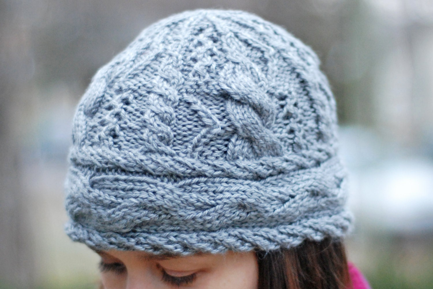 Sideways Knitting Patterns Free : Cedar Lake Cable & Eyelet Hat Knitting Pattern