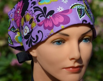 Scrub Hats // Scrub Caps // Scrub Hats for Women // The Hat Cottage // Small // Ribbon Ties // Floral Bliss