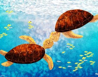 "Sea Turtle Art, Hawaiian Art, Turtle Print, Beachside, Ocean Art, Wall Decor- ""Float Up"""