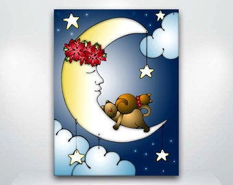 Cat and Moon Sweet Dreams - Fine Art Giclée Print