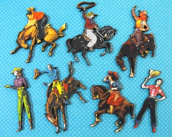Cowboys and Cowgirl Wooden Craft Parts