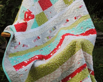 Baby Toddler Quilt or Lap Quilt, Winter Quilt Moda fabric