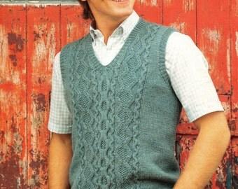 Classic Sleeveless Slip-over for Men in DK Pdf  Vintage Knitting Pattern Instant Download